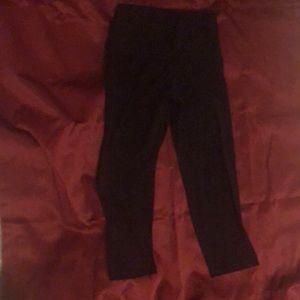 Black leggings old navy corp length. super comfy!